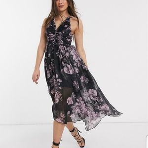 Midi dress with raw edge detail ~ NWT